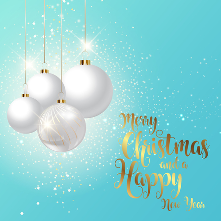 Decorative Christmas and New Year background with hanging baubles