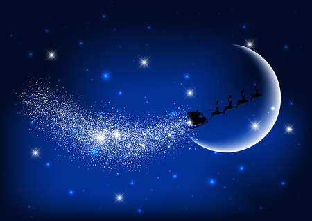 Silhouette of santa claus flying through the night sky