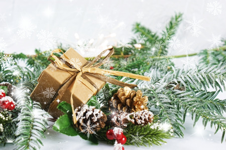 Christmas decorations with snowflakes overlay Stock Photo