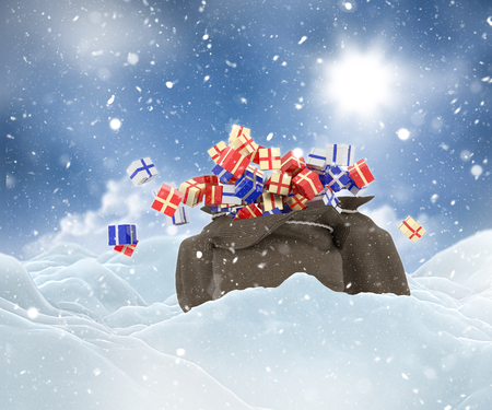 3D render of a Christmas snowy landscape with sack full of gifts Stock Photo