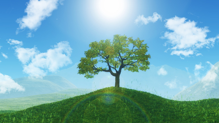 3D render of a tree on a grassy hill