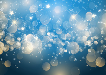 Christmas background of snowflakes, stars and bokeh lights