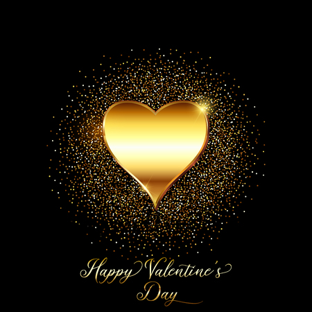 Valentines Day background with metallic gold heart and glittery confetti Stock Photo