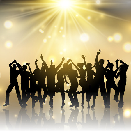 Silhouettes of people dancing on a gold starburst background