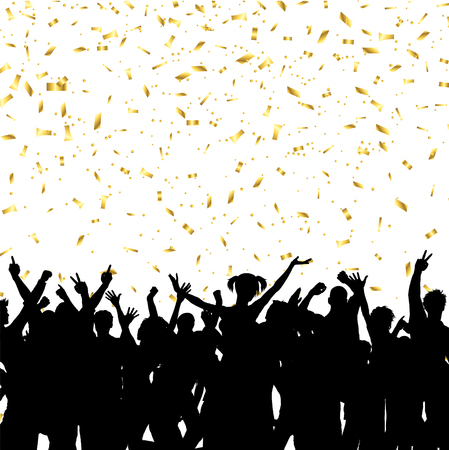 Silhouette of a party crowd on a gold confetti background