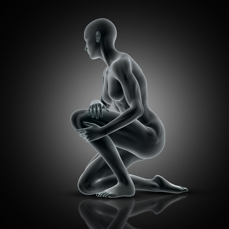 3D render of a muscular female holding knee in pain