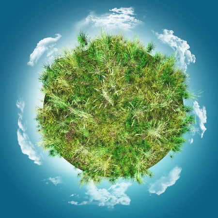 3D render of grassy globe against a blue cloudy sky