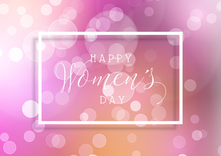 Womens Day background with bokeh lights design Stock Photo