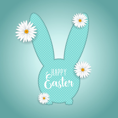 Easter background with cute bunny shaped cutout and daisies