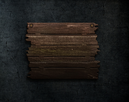 3D render of a old wood sign on a grunge stone texture background