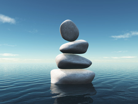 3D render of a landscape with stepping stones balancing in an ocean