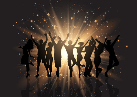 Silhouette of a party crowd on a starburst background Stock Photo