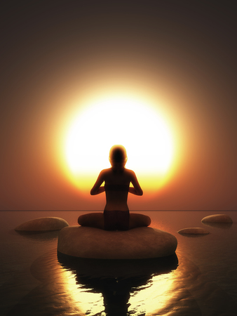 3D render of a female in yoga pose on rock in ocean against a sunset sky