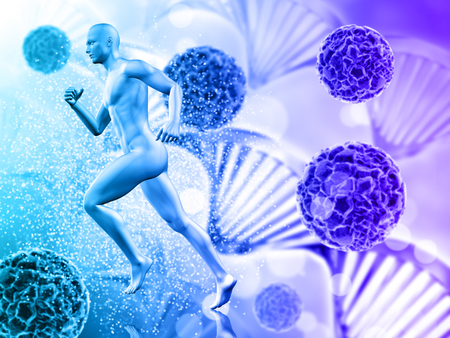 3D render of a medical background with male figure running on virus cells Stock Photo