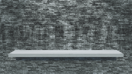 3D render of a white wooden shelf on a grunge brick wall