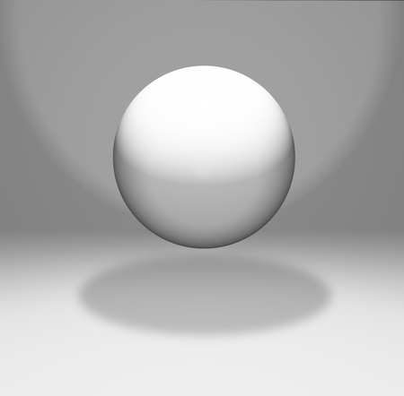 3D render of a floating sphere in a white room Stock Photo