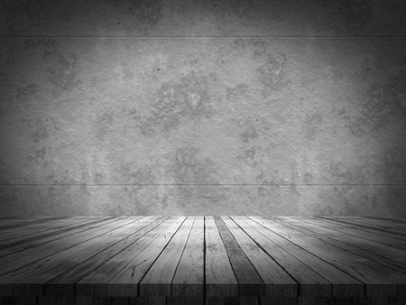 3D render of a wooden table looking out to a grunge concrete wall