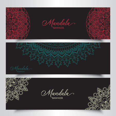 Collection of banners with decorative mandala designs