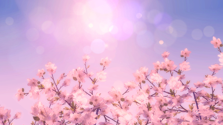 3D render of a vintage style image of a Cherry blossom tree