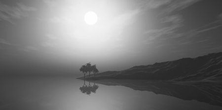 3D render of a foggy landscape with trees on island in grayscale Stock Photo