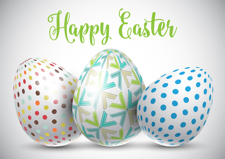 Easter background with decorative Easter eggs Stock Photo