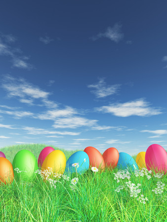 3D render of Easter eggs in grass and daisy landscape