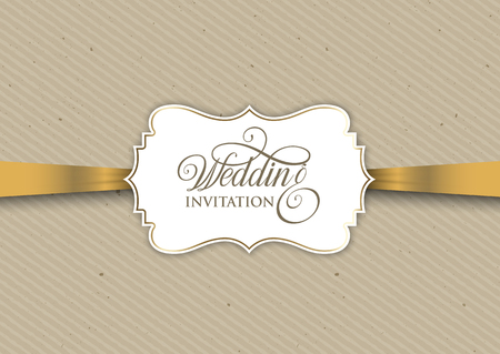 Vintage wedding invitation design with gold ribbon Stock Photo