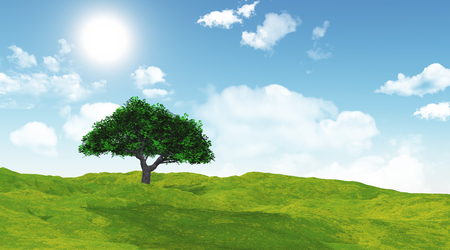 3D render of a cherry tree in a grassy landscape