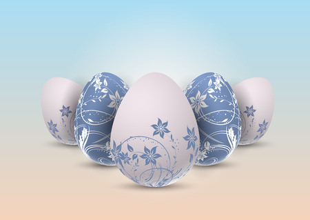 Decorative Easter eggs with floral design