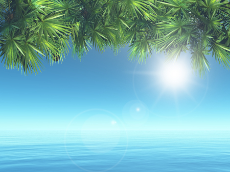 3D render of a tropical landscape with palm tree leaves over ocean Stock Photo