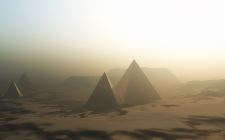 3D render of a landscape with pyramids in desert
