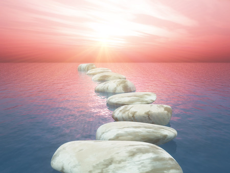 3D render of stepping stones in ocean against sunset sky Stock Photo