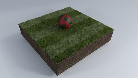3D Render of Soccer Ball of Grass Patch Stock fotó - 97654868