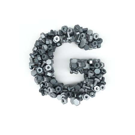 3D Render of  Alphabet Letter of Nuts and Bolts