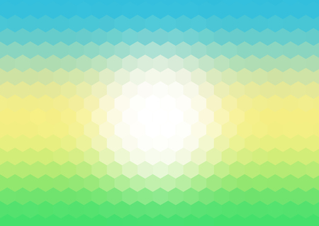 Abstract background with hexagonal mosaic pattern in spring landscape colours