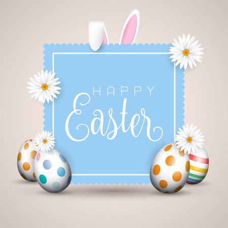 Easter background with eggs and bunny ears