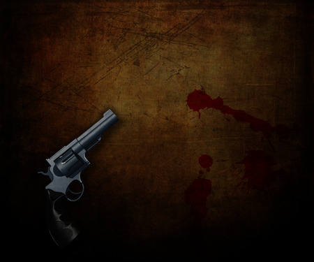 3D render of a handgun on a grunge background with blood splatters