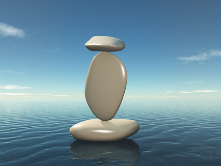 3D render of a zen style background with balancing pebbles Stock fotó