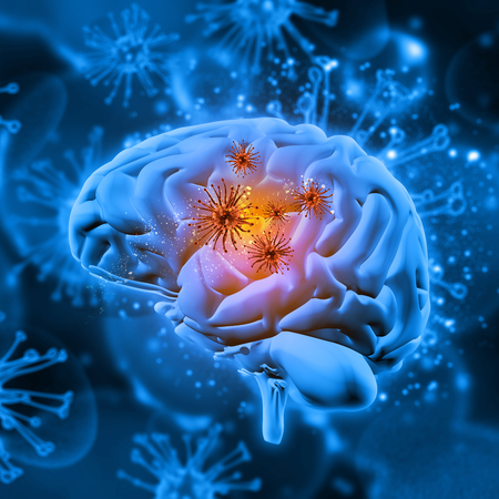 3D render of a medical background with virus cells attacking the brain