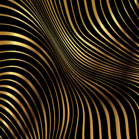 Abstract background with a metallic gold warped stripe pattern 写真素材