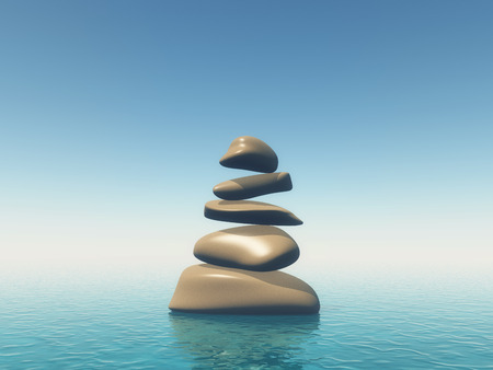 3D render of balancing pebbles in blue ocean