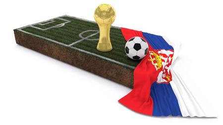 3D Render of Soccer Bal and trophyl on Grass Patch with flag Reklamní fotografie