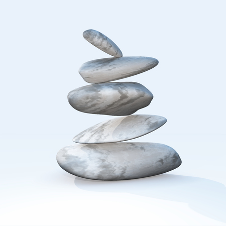 3D render of balancing pebbles on a plain background Stock Photo