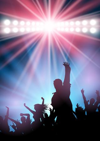 Silhouette of a party crowd dancing under spotlights Archivio Fotografico - 100471381