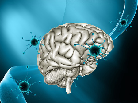 3D render of a medical background with virus cells attacking a brain