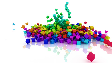 3d render of Rainbow coloured cubes