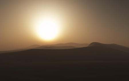 3D render of a hazy desert scene
