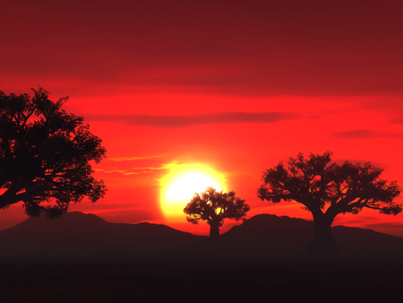 3D landscape with trees against a sunset sky
