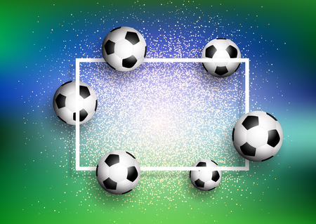 Footballs  soccer balls on a glittery background with white frame Stock Photo