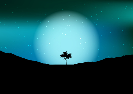 Silhouette of a tree against the moon in a night sky